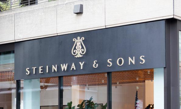 New York, New York, USA - August 17, 2019: Steinway & Sons showroom midtown manhattan.