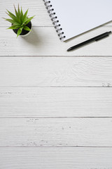 Wall Mural - Flat lay wood desk with blank notebook, pen and green plant in vase. Copy space.