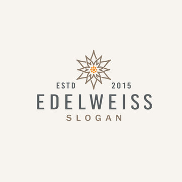 Abstract edelweiss flower for Vintage Logo Design Inspiration