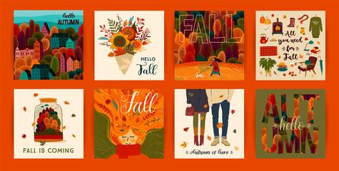 Set of cute autumn illustrations. Vector templates