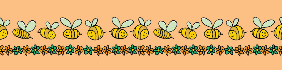 Vector pastel orange bees and flowers stripes horizontal border pattern. Suitable for gift wrap, textile and wallpaper.
