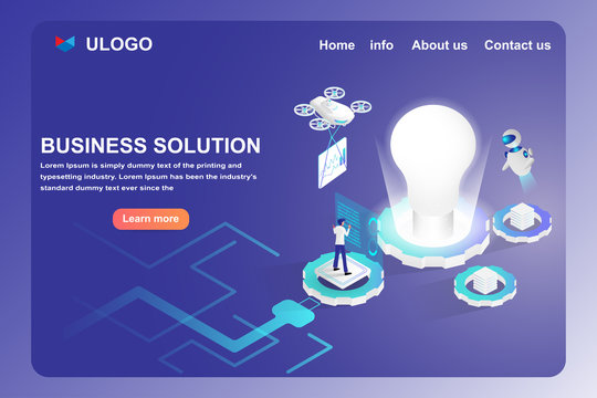Financial and business solution, start up and protection concept. Isometric lamp, drone, artificial intelligence, and human with big data Web template and landing page design.