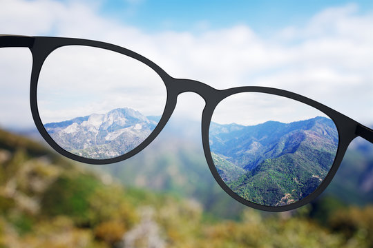 Bright nature though eyeglasses