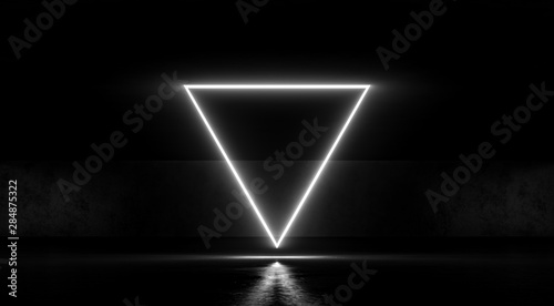 Triangular Neon Glowing Light On Dark Abstract Background