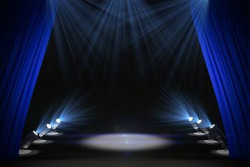 Illuminated black stage with curtains Fototapete
