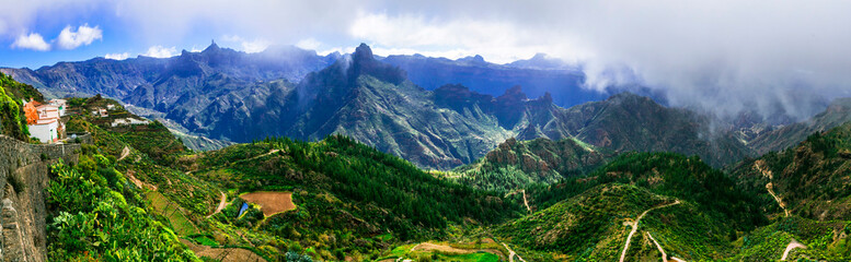 Artenara is Gran Canaria's highest village with breathtaking views of mountains. Biosphere reserve. Canary islands