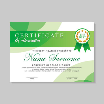 Modern certificate template design with green and white color, Diploma certificate design