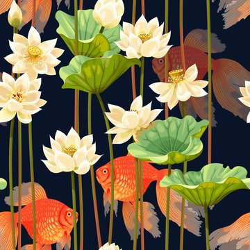 Seamless pattern with white lotus and fish