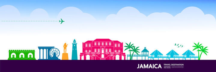 Fototapete - Jamaica travel destination grand vector illustration.