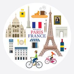 Paris, France Landmarks and Travel Label