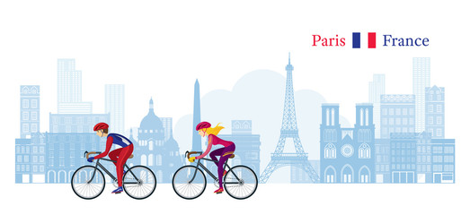 Cyclist Cycling with Paris France Skyline Background