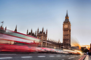 Fototapete - Big Ben with traffic jam in the evening, London, United Kingdom