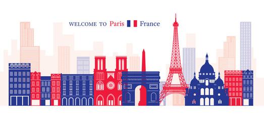 Paris, France Landmarks Skyline, Blue and Red Colour