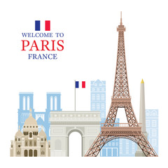Eiffel Tower Paris, France with Building Landmarks