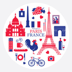 Paris, France Landmarks and Travel Objects Label