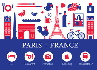 Paris, France Landmarks and Travel Objects with Accommodation Icons