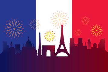 France Flag with Landmarks Skyline Celebration Background