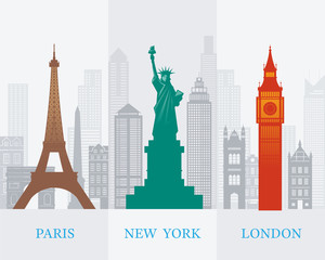 Eiffel Tower Paris, Statue of Liberty New York, Big Ben London, Landmarks Background