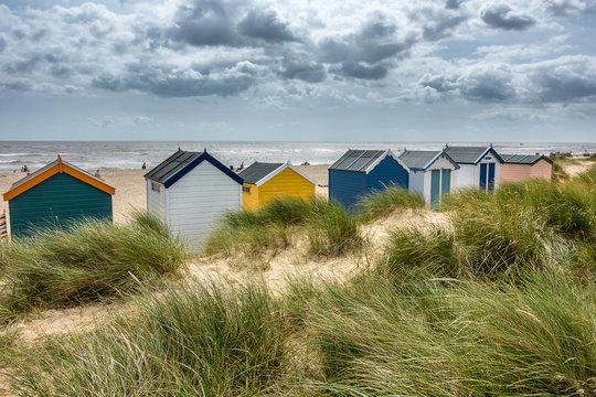 Beach huts on Southwold beach in Suffolk England