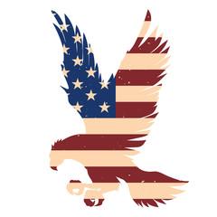 Eagle silhouette with usa flag background. Design element for poster, emblem, sign, logo, label. Vector illustration