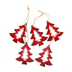 Weihnachten Dekoration isoliert: Rote Metall Bäume mit Schnur zum Aufhängen an den Weihnachtsbaum