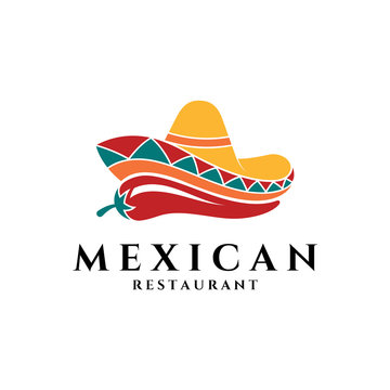 Mexican Sombrero Hat with Chili for Restaurant Business Logo.Flat Style.Spicy Food Symbol.Modern Design