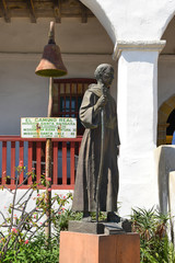 SANTA BARBARA, CALIFORNIA - SEPTEMBER 21, 2016: Junipero Serra Statue at Santa Barbara Mission. Serra was a Roman Catholic friar of the Franciscan Order who founded the first nine of 21 California mis