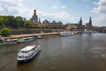 Tourist boats on the Elbe River in the old town of Dresden