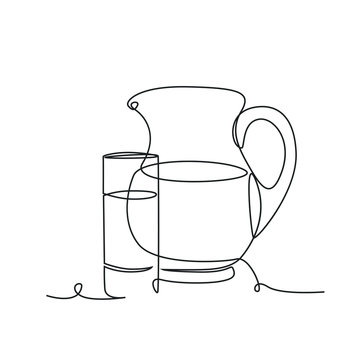 Jug and glass one line drawing on white isolated background. Vector illustration