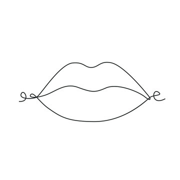 Lips one line drawing on white isolated background. Vector illustration