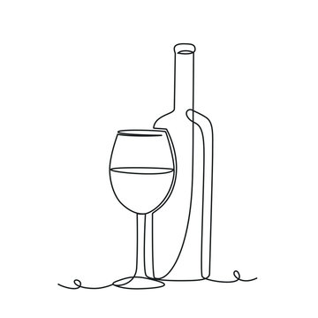 Wine bottle and glass one line drawing on white isolated background. Vector illustration