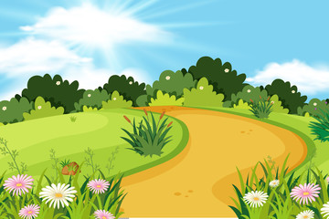 Background design of landscape with road in the park