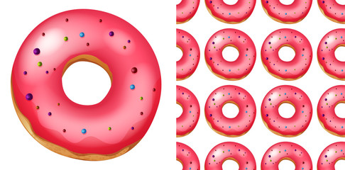 Seamless pattern of donuts on white