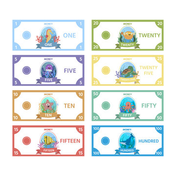Vector set of paper money for children's games with cute sea Horse, turtle, a fish, jellyfish, starfish. Activity sheet for kids. Matching education game for children.