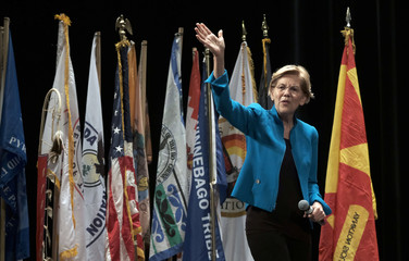 U.S. Democratic presidential candidate Senator Elizabeth Warren speaks at the Frank LaMere Native American Forum