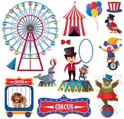 Set of isolated objects theme circus