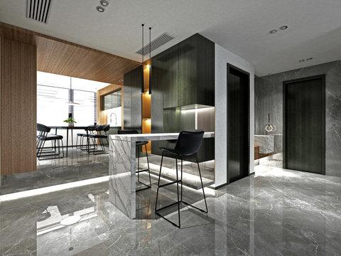 3d render of dining room interior.