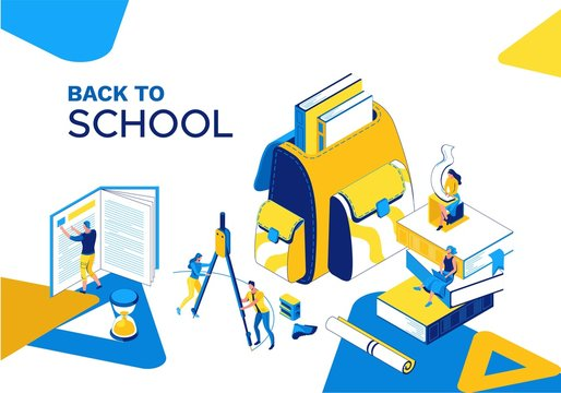 Back to school isometric landing page, learning people set, 3d students read book, library, learn lesson, class concept, backpack, college pupil, blue, yellow, stationery, modern creative characters