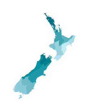 Vector isolated illustration of simplified administrative map of New Zealand. Borders of the regions. Colorful blue khaki silhouettes