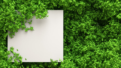 Beautiful summer foliage frame. 3d illustration, 3d rendering.