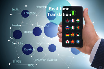 Concept of real time translation with smartphone app