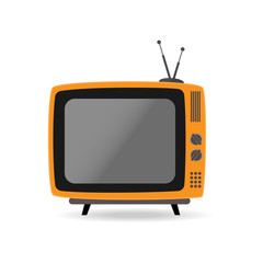 Retro TV set. Flat orange color television with antenna icon symbol sign isolated on white background. Vector stock illustration