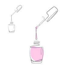 Nail varnish one line drawing on white isolated background for store, banner and business card. Linear art. Vector illustration