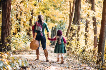 A rear view of mother with a toddler daughter walking in forest in autumn nature.