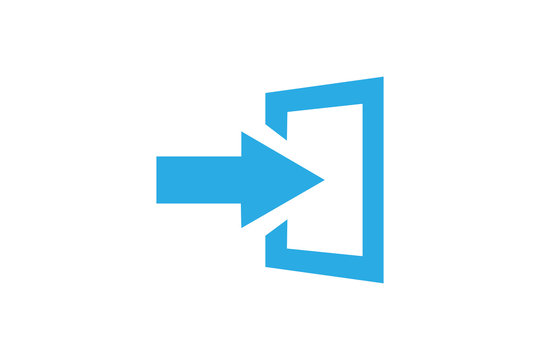 The exit icon. Logout and output, outlet, out symbol. Flat Vector illustration