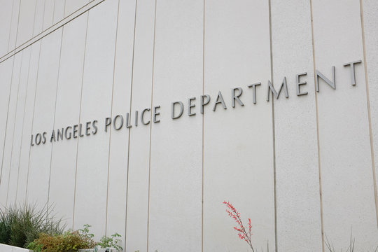 LOS ANGELES, SEPT 2, 2018: Los Angeles Police Department sign on the LAPD Headquarters building in downtown, it is the third largest municipal police department in the US.