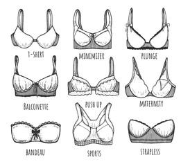 Female underwear different types set