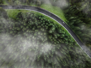 Foto auf Acrylglas Khaki arial veiw of empty road in green forest. drone shot
