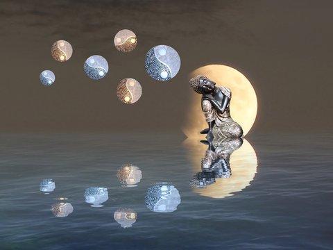 Meditation with moonlight and yin-yang