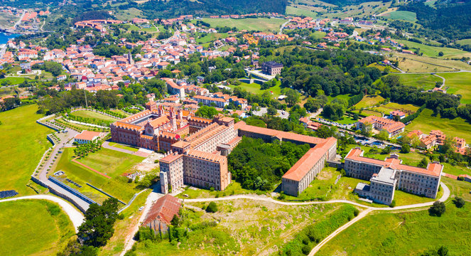 Aerial view of Cantabria  University Center CIESE in Comillas, landscape